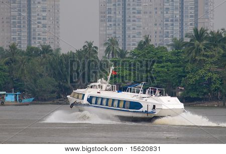 Hydrofoil Boat On Saigon River In Vietnam