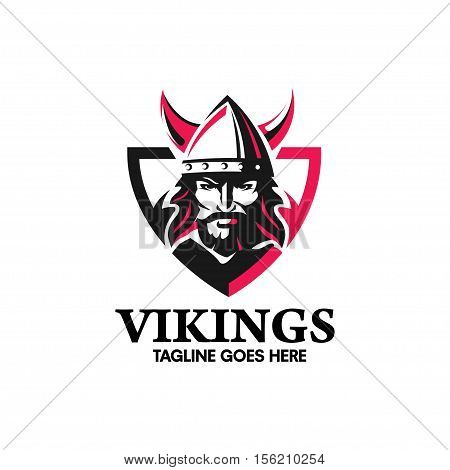 creative Viking head warrior with a horned helmet, a symbol of strength, Viking warrior with shield logo design