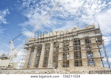 The Reconstruction of Parthenon Temple On Top Of Acropolis of Athens, Greece