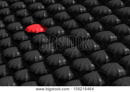 3D Rendering : Illustartion Of Red Umbrella Stand Out From The Crowd Of Many Black And White Umbrell