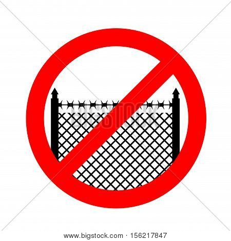 Stop Border. Prohibited Fence. Red Prohibition Sign. Cross Out Perimeter Fence