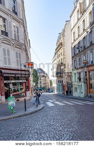 PARIS, FRANCE. Circa april 2016. Rue Chappe  (Chappe street) in Montmartre.  Montmartre area is among most popular destinations in Paris