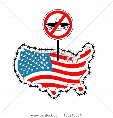 Us Closes Border With Mexico. Stop Sombrero. Map Of America With Barbed Wire. America Closes Borderl