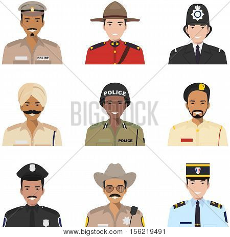 Set of colorful police different countries flat style icons: sheriff, gendarme and policeman. Vector illustration.