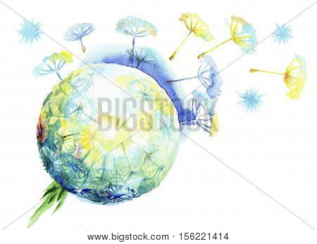 Fluffy dandelion dispersing seeds.Watercolor sphere of a dandelion on a white background
