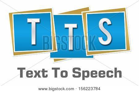 TTS - Text to speech text alphabets written over blue background.
