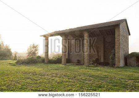 A disused empty farm building in Italy countryside