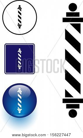 barber shop pole symbol sign and button