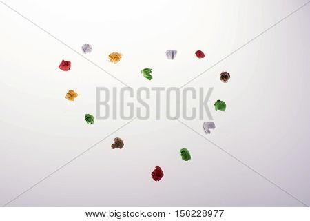 Colorful Crumpled Paper  Form A Heart Shape