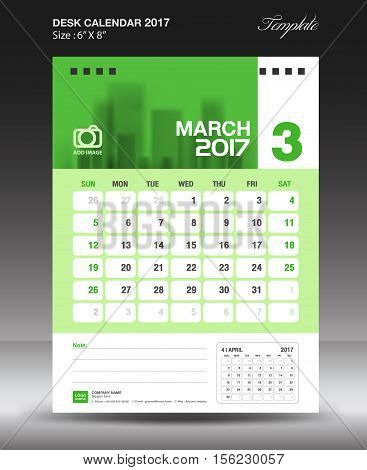 March Desk calendar 2017, Green Calendar 2017, vertical calendar 2017 size 6 x 8 inch vector template