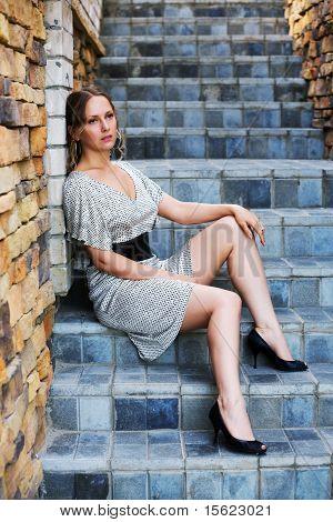Sad Woman On The Steps