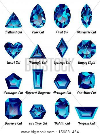 Set of realistic blue amethysts with complex cuts isolated on white background. Jewel and jewelry. Colorful gems and gemstones. Trilliant pear oval marquise heart triangle lozenge happy eight.
