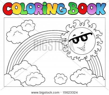 Malbuch mit Sonne und Regenbogen