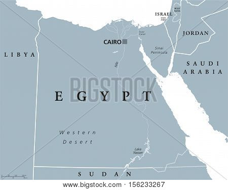 Egypt political map with capital Cairo, with Nile, Sinai Peninsula and Suez Canal. Arab Republic of Egypt with international borders and neighbor countries. Gray colored illustration. English labeling