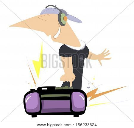 Loud music. Smiling man in headphones pressing a bottom on boom box and listening a loud music