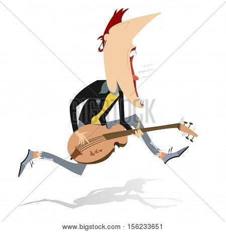 Jumping guitar player. Guitarist is playing music and singing with the great inspiration