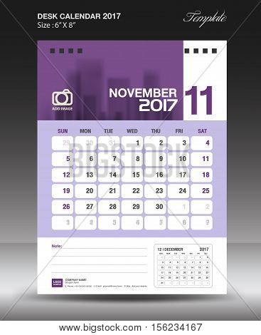 November Desk calendar 2017, Purple Calendar 2017, vertical calendar 2017 size 6 x 8 inch vector template