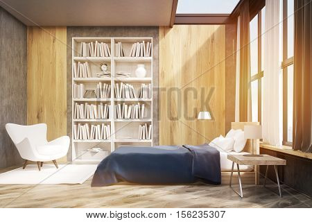 Bedroom Interior With Bookcase, Toned