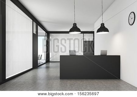 Office lobby. The reception counter is standing in the middle. Meeting room is seen in the background. 3d rendering. Mock up.