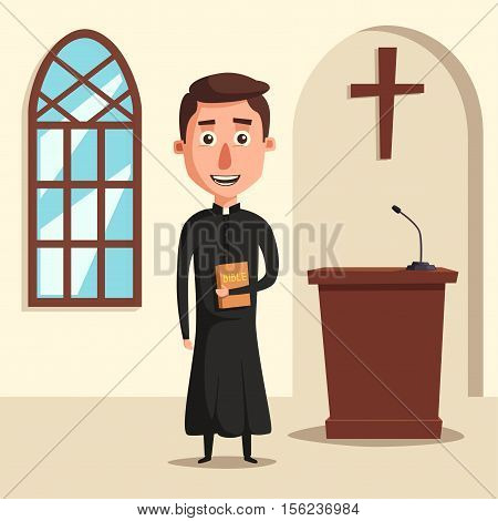 Young catholic priest. Cartoon vector illustration. Preaching at church. Holy father in robe. Pope with bible. Religion and church theme. Profession design
