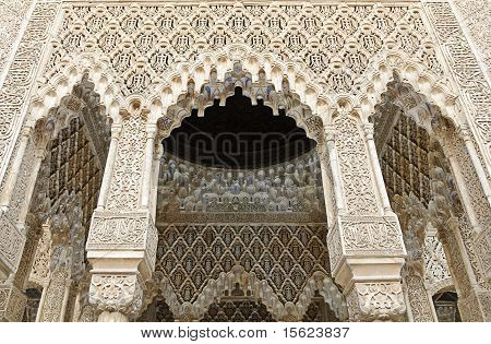 Decorated Arches And Columns Inside The Alhambra Of Granada, Spain