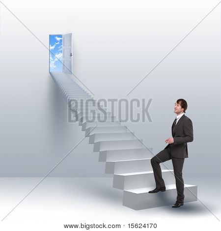 young man climbs the stairs