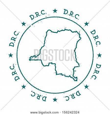Congo, The Democratic Republic Of The Vector Map.. Retro Vintage Insignia With Country Map.. Distres