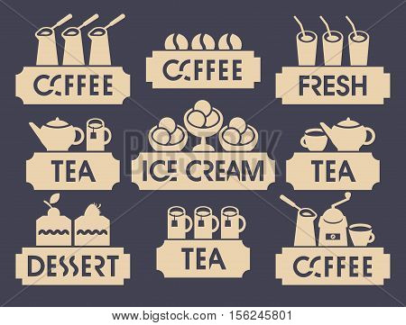 set of logo for restaurant or cafe shop on hot drink and dessert and juice