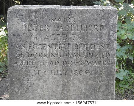 A close up of the Gravestone of Peter Labelliere of Dorking who was buried upside down on Boxhill