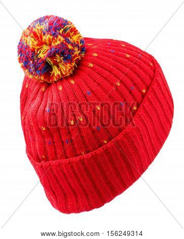 Knitted Hat Isolated On White Background .hat With Pompon . Red Hat .