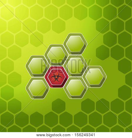 Vector background with cell of biohazard contamination.