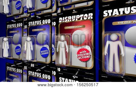 Disruptor Action Figure Change Agent Vs Status Quo 3d Illustration