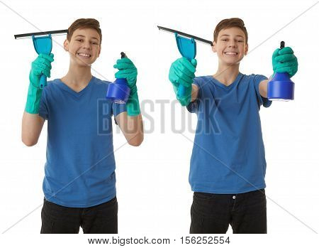 Set of cute teenager boy in blue T-shirt and green rubber gloves with window cleaning squeegee tool over white isolated background, half body, cleaning concept