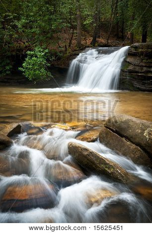 Mountain Waterfall W/ Silky Smooth Flowing Water