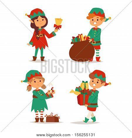 Santa Claus kids cartoon elf helpers vector illustration. Santa Claus elf helpers children. Santa helpers traditional costume isolated on background. Santa elf helpers christmas kids