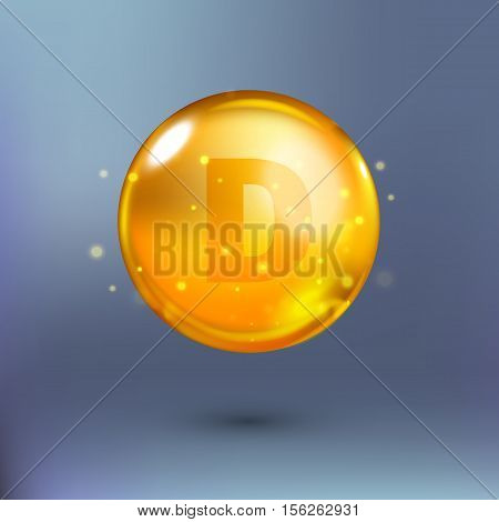 Shining golden essence circle droplet. Vector illustration of vitamin D in orange and yellow colours on blue background with shadow. Medical and pharmaceutical image.