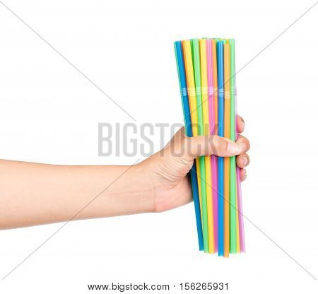 Hand Holding Drinking Straw Isolated On White Background.