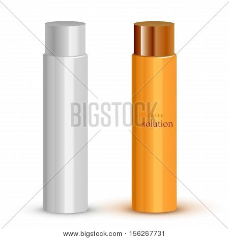 Realistic cosmetic bottle mock up set isolated pack on white background. Cosmetic brand template. Shampoo pack. Vector cosmetic packaging. Blank cosmetic package collection. Cosmetics beauty products.