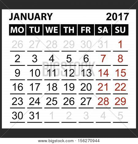 calendar sheet January 2017, Saturday and Sunday the weekend of the red color, vector easy to edit