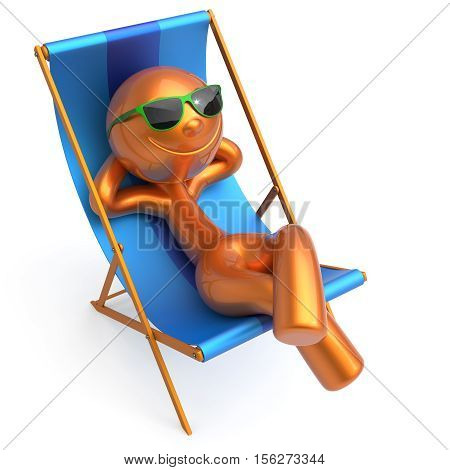 Relaxing beach deck chair man smile cartoon character chilling stylized summer sunglass person sun lounger tourist sunbathe rest outdoor vacation lifestyle travel daydream destination. 3d illustration