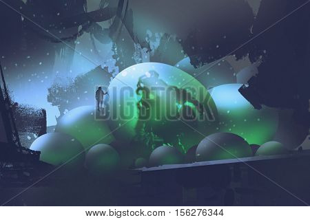 the man standing on glowing eggs with a monster inside, sci-fi concept, illustration painting