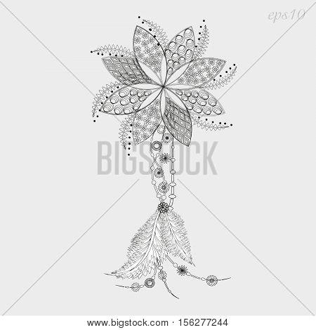 Flower tattoo amulet Decoration style graphics folk art handmade author of seven petal design pattern feather pendant henna on the body logo eps10 vector illustration Stock