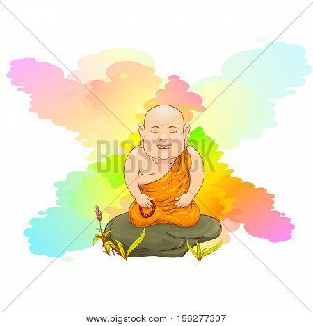 Monk. Monk meditates sitting on a stone. Buddhist in the orange robe. Vector cartoon illustration.