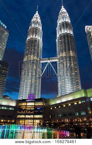 KUALA LUMPUR, MALAYSIA - FEBRUARY 08, 2016: Petronas Twin Towers in Kuala Lumpur, Malaysia. Petronas Towers were the tallest buildings in the world until 2004