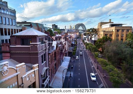 Aerial Urban Landscape View Of George Street At The Rocks In Sydney, Australia