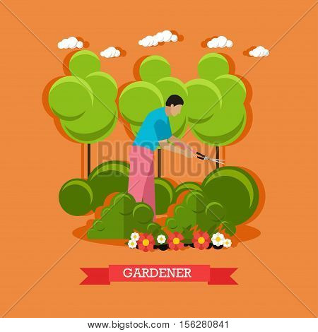 Vector illustration of gardener trimming hedge with special garden shears to shape them. Gardening. Flat design
