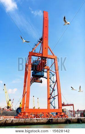 Crane in seaport