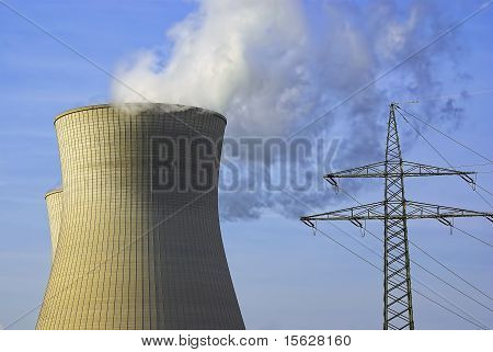 Power Station, Cooling Tower and Power Pole