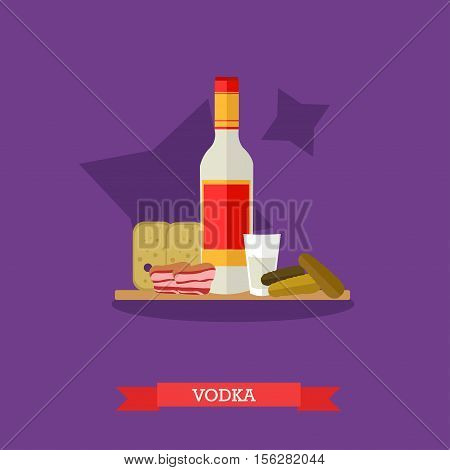 Vector illustration of vodka bottle and shot with appetizer, snack. Bread, pickled cucumbers and lard on cutting board. Popular alcoholic beverage in Russia. Flat design