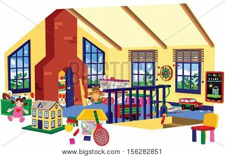 A cutaway image of an attic style children's playroom.